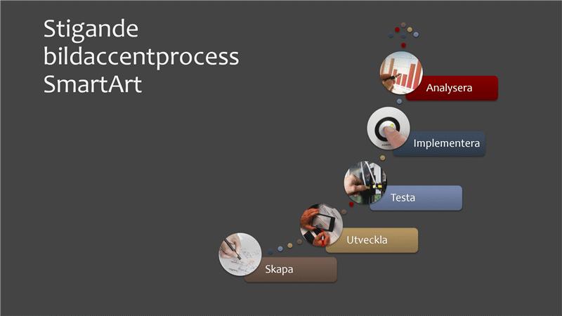 SmartArt-diagram med layouten Stigande bildaccentprocess (flera färger eller grått) i bredbildsformat