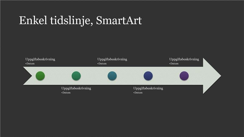 SmartArt med enkel tidslinje (vitt på mörkgrått), bredbildsformat