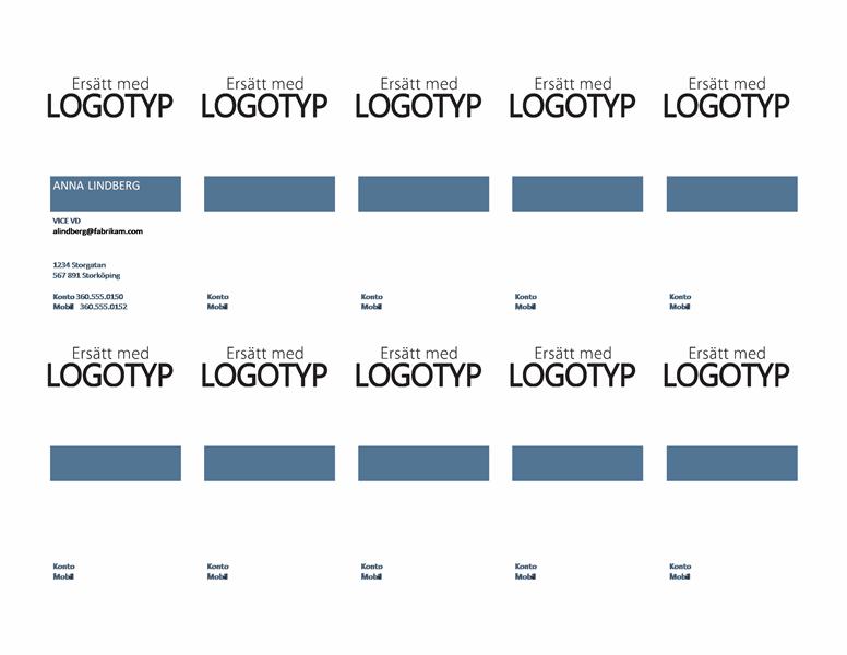 Visitkort, lodrät layout med logotyp och vänsterjusterad text