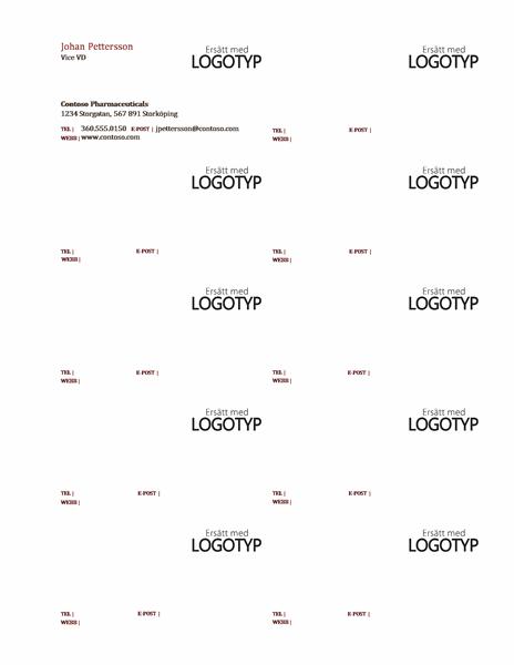 Visitkort, vågrät layout med logotyp och vänsterjusterad text