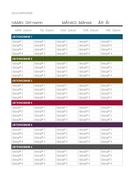 Veckokalender för uppgifter