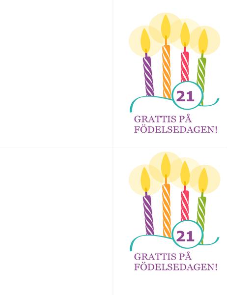 Födelsedagskort för stora födelsedagar (2 per sida, för Avery 8315)