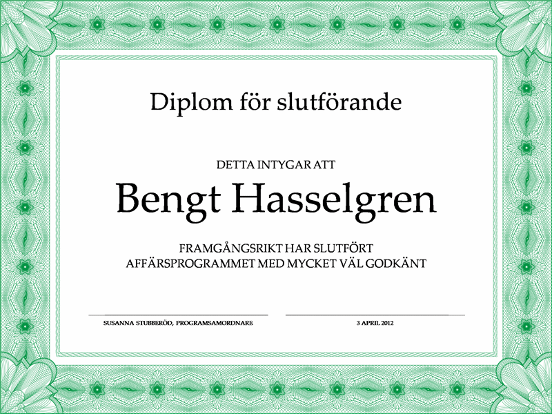 Avslutningsdiplom (grönt)