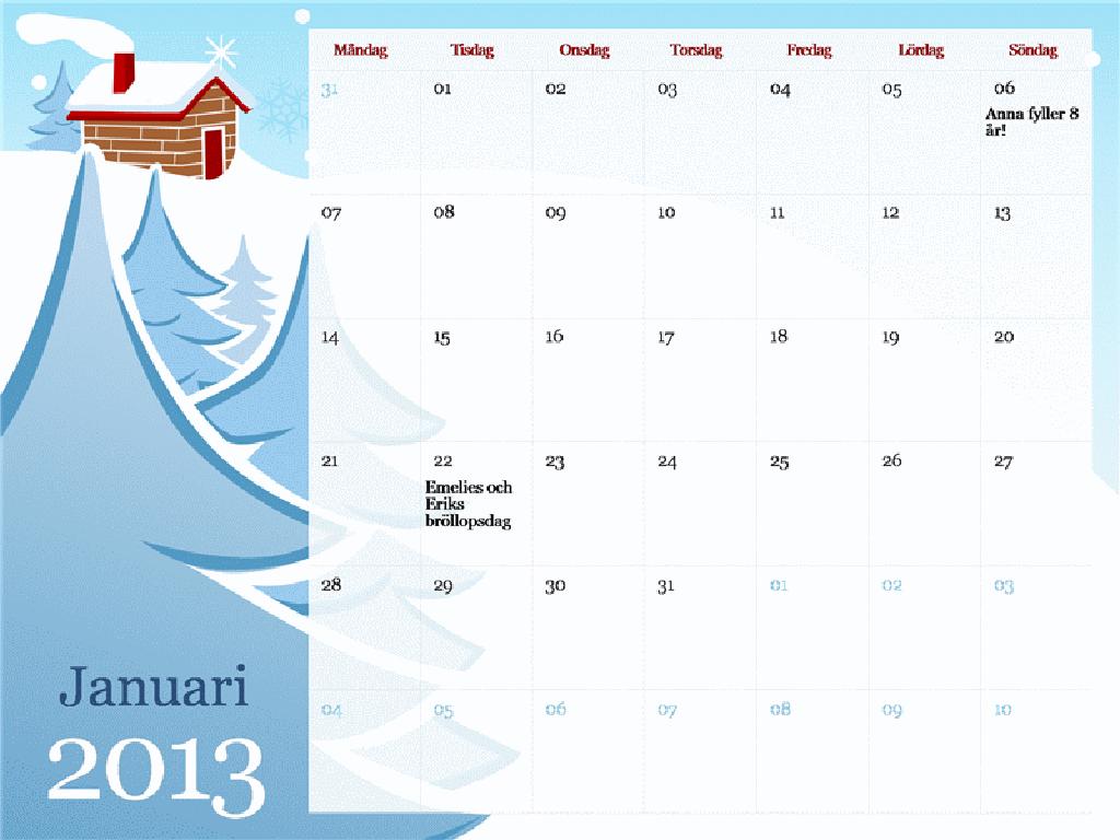 Illustrerad säsongskalender för 2013, mån-sön