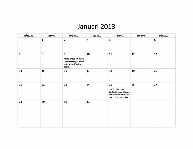 Enkel kalender 2013 (M-S)