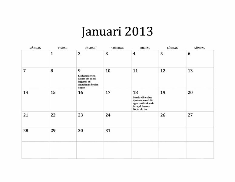 Klassisk kalender för 2013 (M-S)