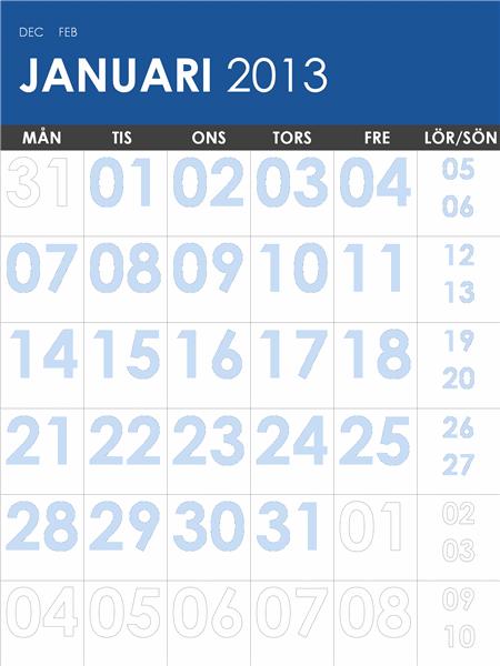 Flerfärgad kalender 2013–2014 (mån–sön)