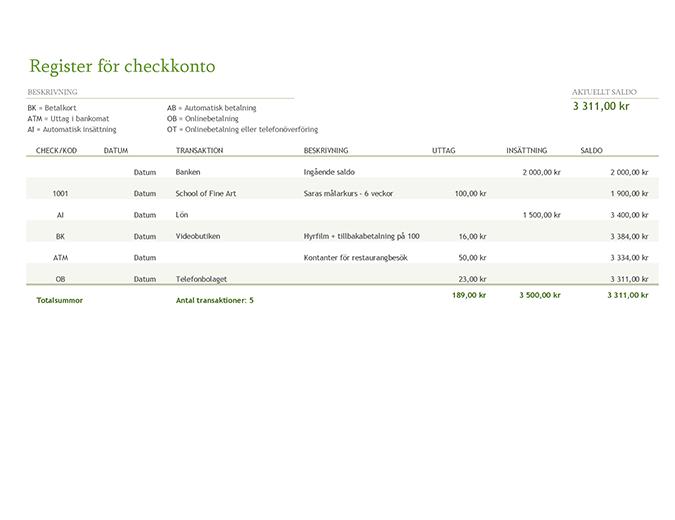 Register för checkkonto med transaktionskoder