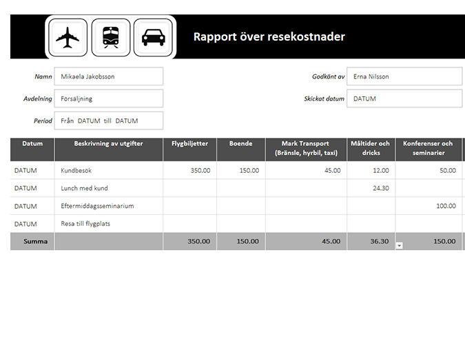 Resekostnadsrapport med reseersättningslogg (km)