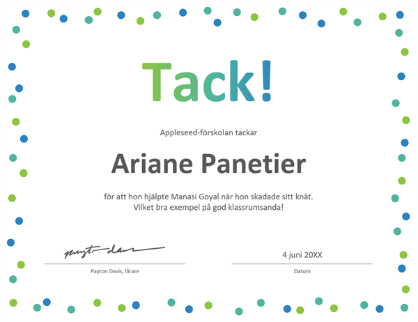Tackcertifikat