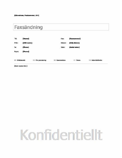 Enkelt försättsblad för fax