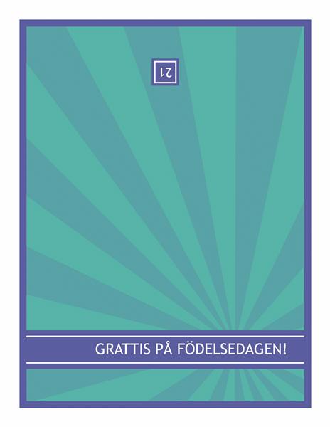 Födelsedagskort, blå ränder mot en grön bakgrund