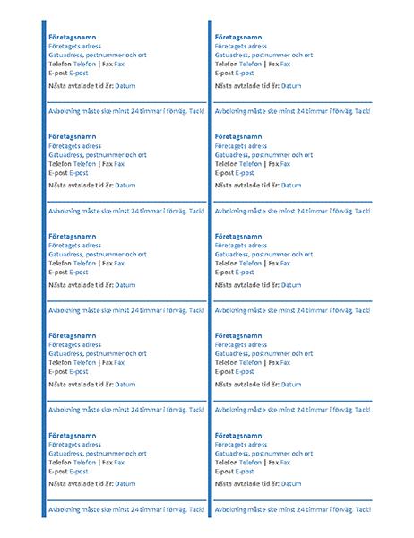 Tidbokningskort (10 per sida)