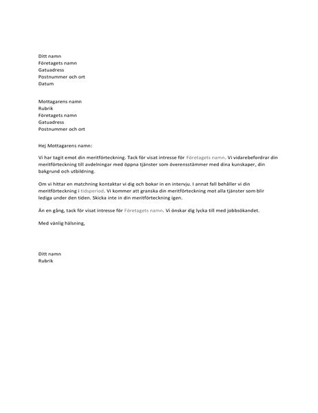 Brev för att bekräfta mottagande av jobbansökan