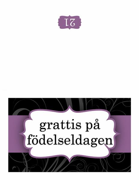 Födelsedagskort (med lila band)