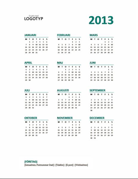 Kalender för 2013 (formatet M-S)