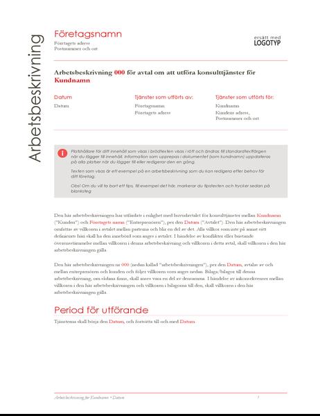 Arbetsbeskrivning (Röd design)