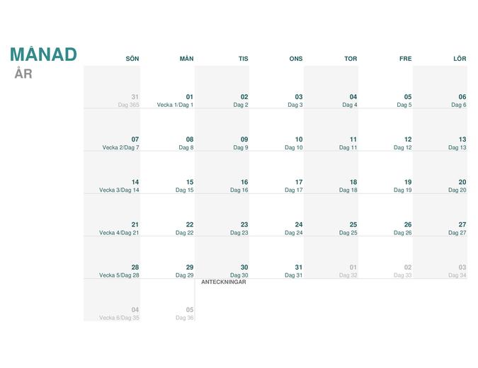 Juliansk kalender (valfritt år)