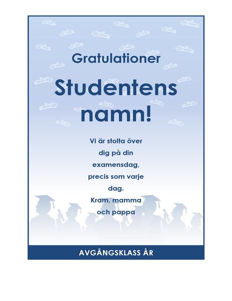 Flygblad för examensgratulationer (Examensfest)
