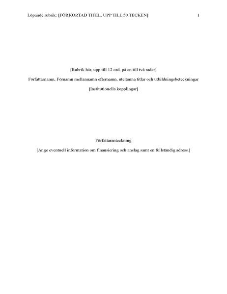 Rapport som använder APA-format (6:e utgåvan)