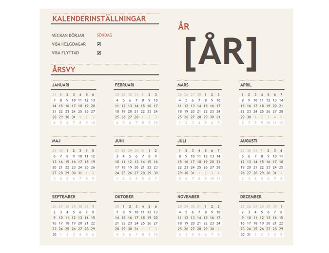 Kalender för valfritt år med helgdagar