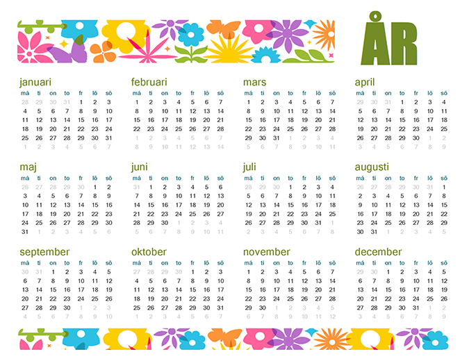 Roliga kalender för valfritt år