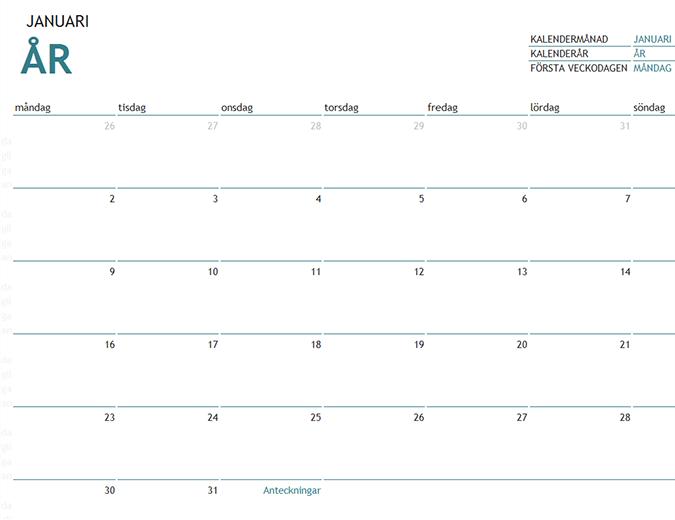 Månadskalender för valfritt år med anteckningar