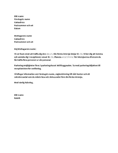 Brev som bekräftar jobbintervju för kandidat