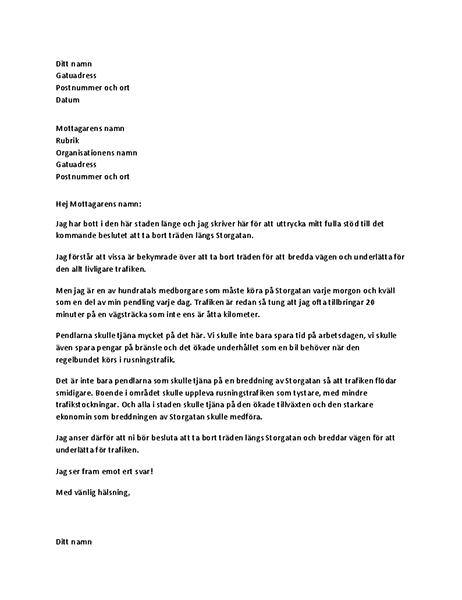 Stödbrev till lokal myndighetsperson