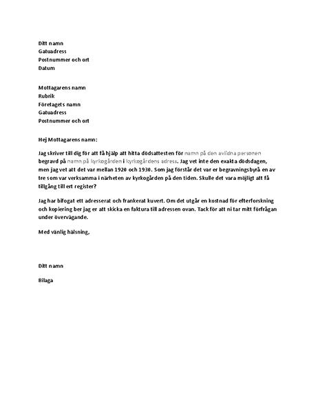 Brev som begär information om avliden från en begravningsbyrå