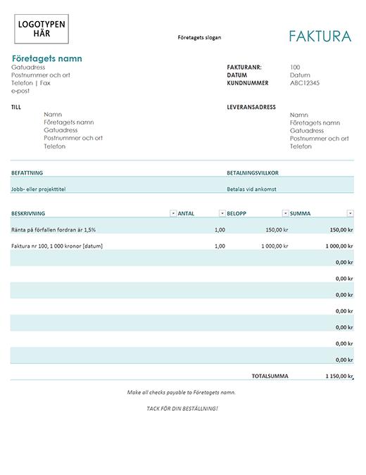 Faktura med ränteavgift (blå)