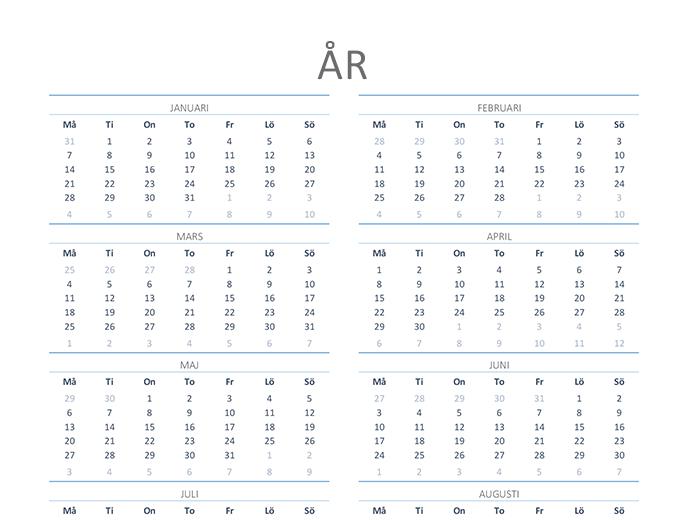 Kalender för valfritt år (mån–sön)