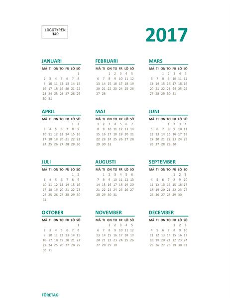 Översiktskalender 2017, mån–sön