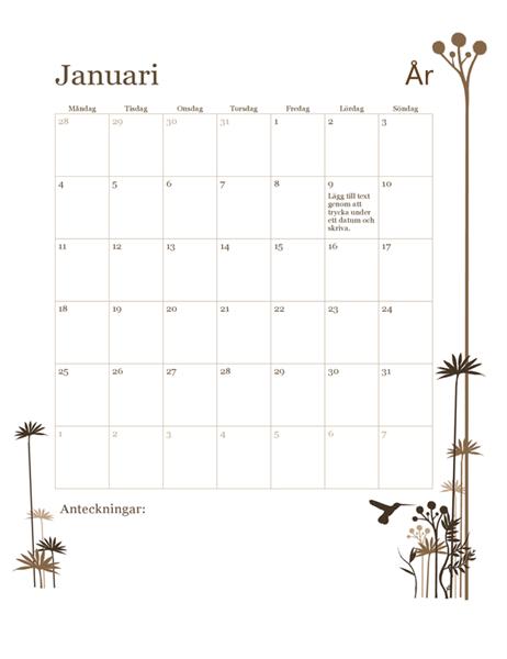 12-månaderskalender 2018 (mån-sön)