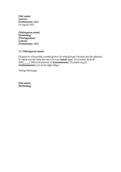 Meddelande om försenad betalning