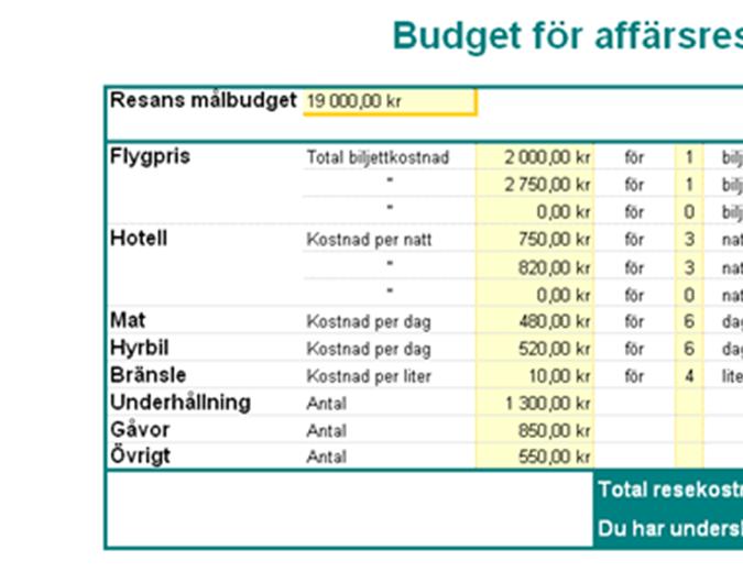 Budget för affärsresa
