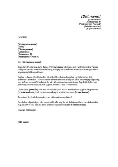 Begäran om rekommendation från tidigare arbetsgivare