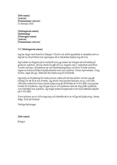 Begäran om återbetalning från reseförsäkring