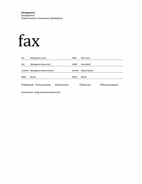f u00f6rs u00e4ttsblad f u00f6r fax  professionellt tema