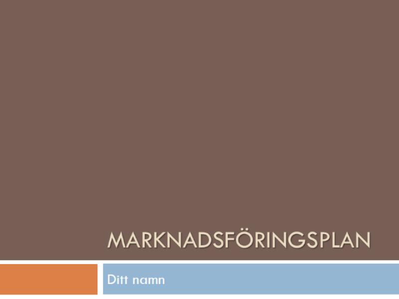 Marknadsplan