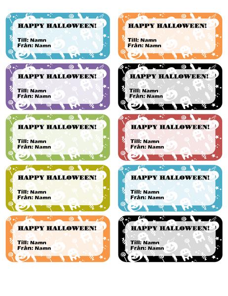 Halloween-etiketter (10 st. per sida)