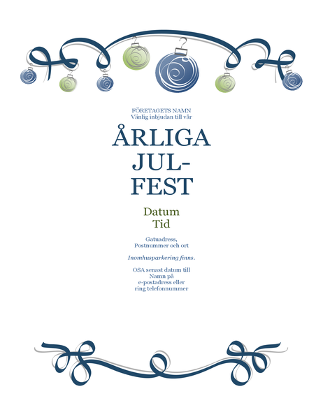 Flygblad för högtidsfest med prydnadsföremål och blått band (formell design)