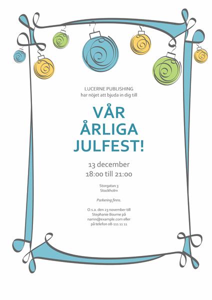 Inbjudan till julfest med julpynt i blått, grönt och gult (informell)