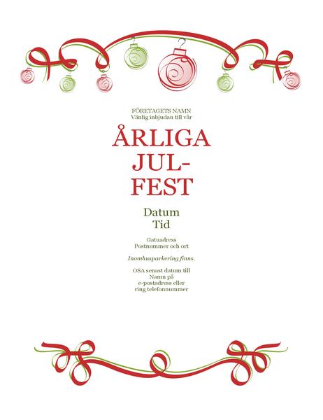 Inbjudan till julfest med julpynt i rött och grönt (formell)
