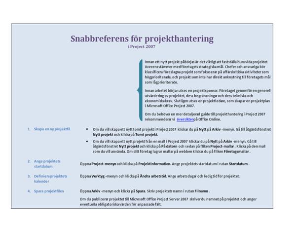 Snabbreferens för projekthantering i Project 2007