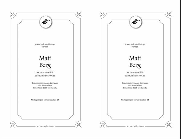 Meddelande om examen (formell, svartvit)