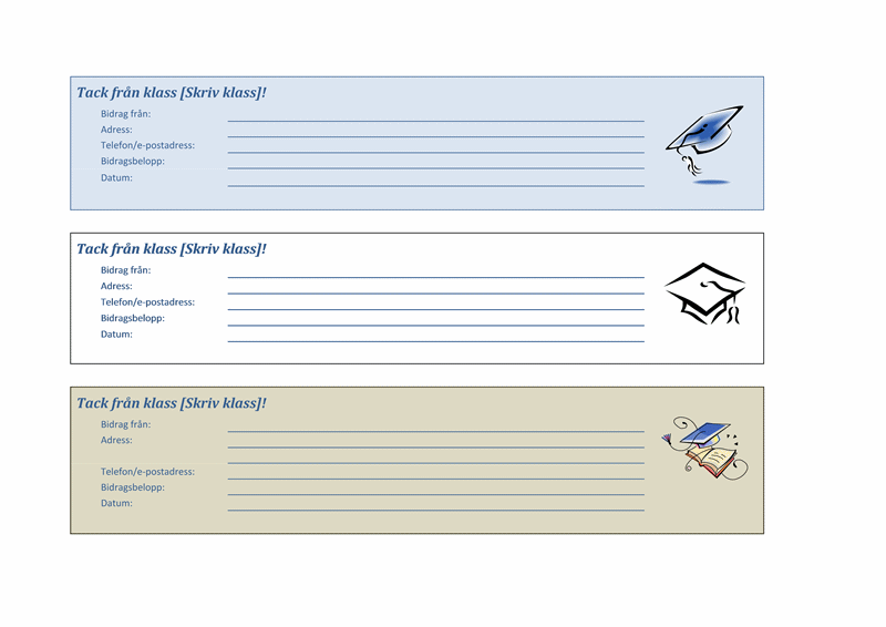Kvitto för bidrag till klassinsamling