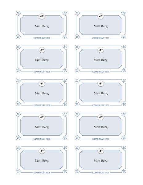 Namnbrickor för examen (formell)
