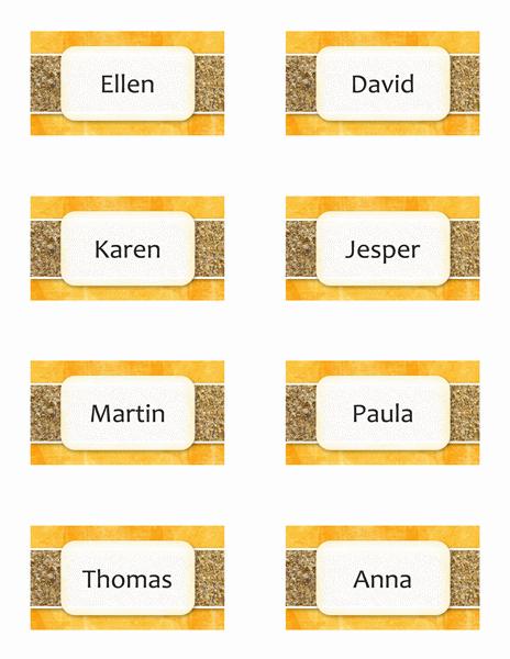 Namnbrickor eller placeringskort (sol och sand, 8/sida)
