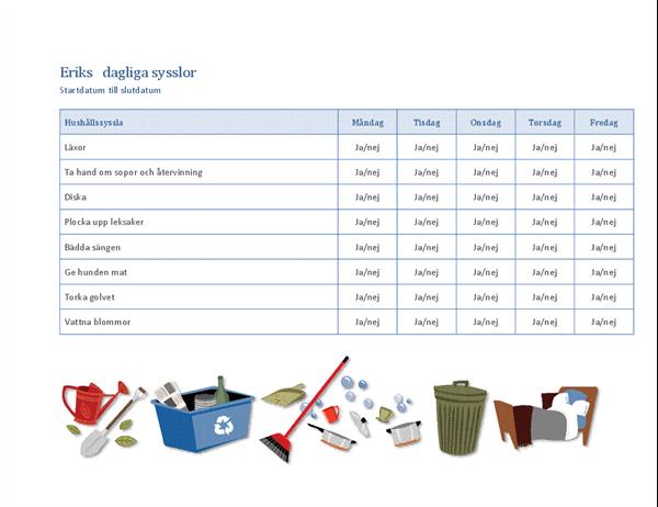 Checklista för barnens hushållssysslor